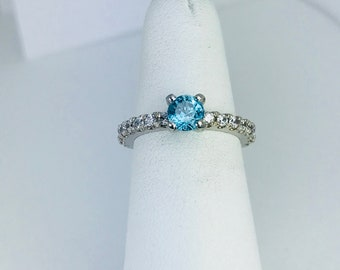 Natural Blue zircon Lab Created diamond Ring, 925 Silver Ring ,Size 4 3/4 (US).