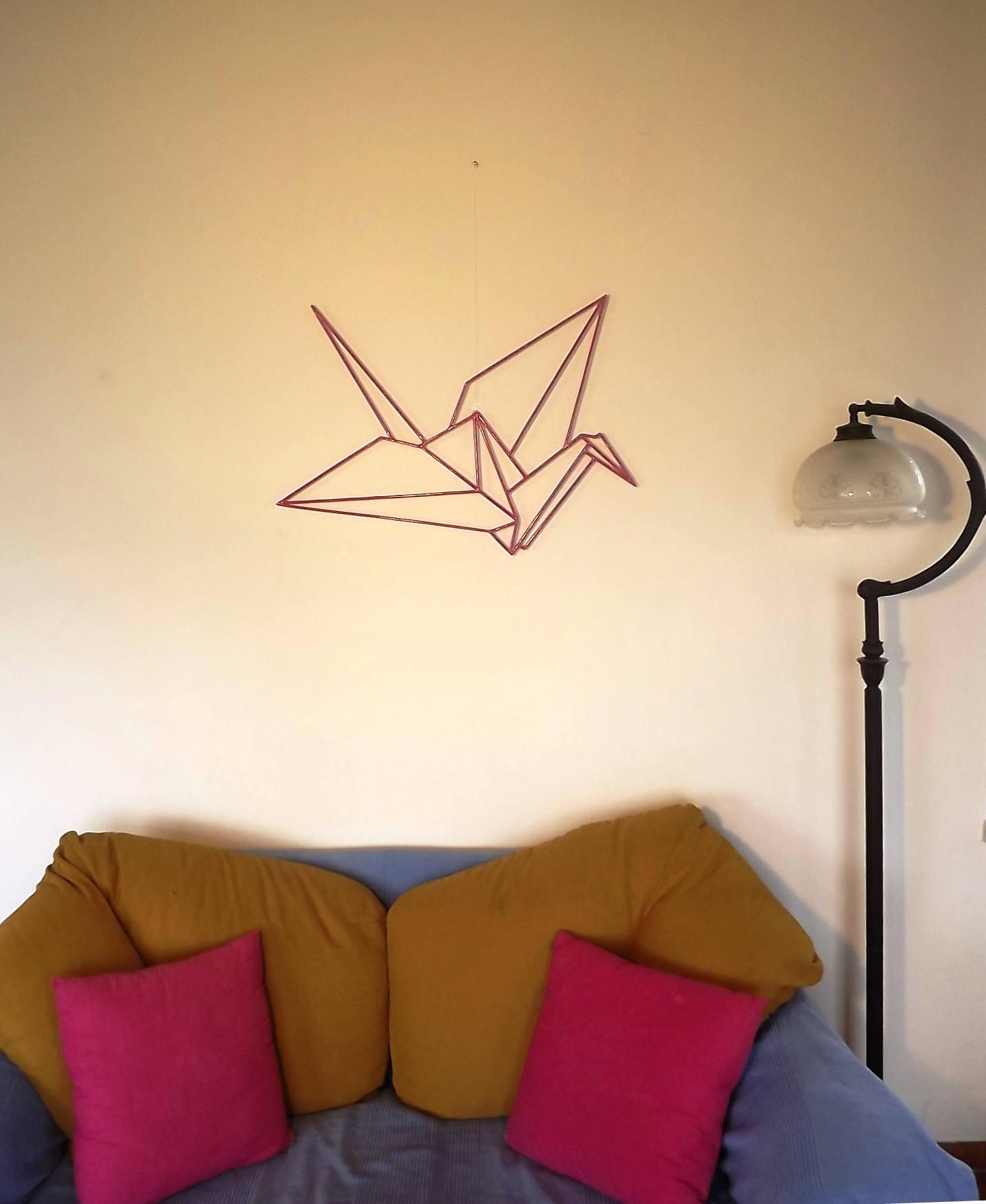 FREE SHIPING fuchsia origami crane wall art japanese crane | Etsy