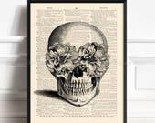 Floral Skull Print, Sugar Skull, Sister Poster Gift, College Room Wall, Skull Artwork, Funny Home Art, Anatomy Poster, Dictionary Paper 026