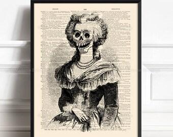 Raven Halloween Art Husband Gift Poster Pumpkin Head Print