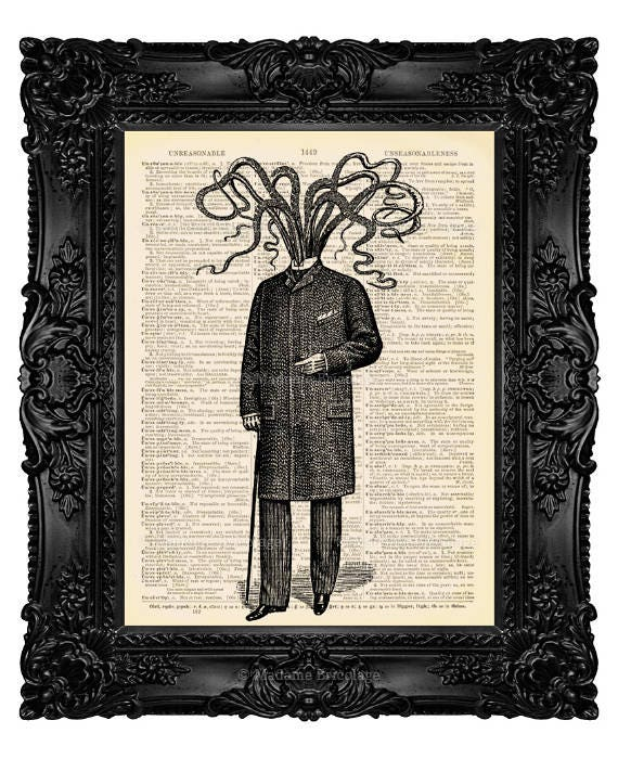 Cthulhu Art, College Dorm Print, Kraken Art Print, Victorian Octopus,  Dictionary Art Gift, Bathroom Wall Decor, Boy Birthday Poster 047
