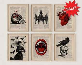 Set of 6 Prints Witchy Decor Witchcraft Pagan Decor Halloween Decor Vintage Witchy Gifts Gothic Home Decor Goth Wall Set Vintage Posters Art