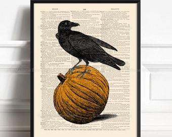 Cottagecore Halloween Crow Art, Halloween Wall Art, Halloween Decor, Home Office Decor, Raven on Pumpkin, Vintage Halloween, Witchy Home 460