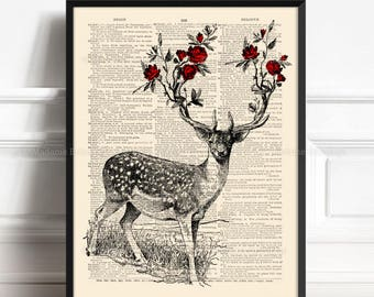 Stag Home Decor, Deer Antler, Deer And Roses, Girlfriend Xmas Gift, 9th Year Anniversary, Grandmother Gift, Gift for Her 8th, Wall 371
