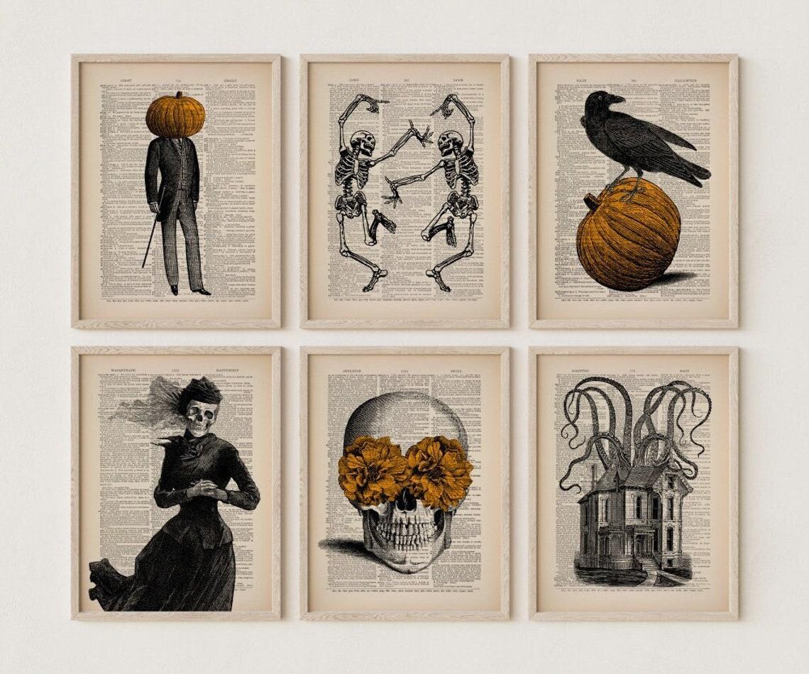 Set of 6 Vintage Halloween Prints Halloween Decor Skeleton image 0