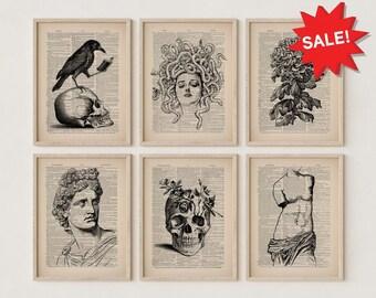 Gallery Wall Set of 6 Prints, Original Collage Art Print Wall Art, Skull with Raven, Chrysantemum Flower, Apollo Greek God, Floral Skull Art