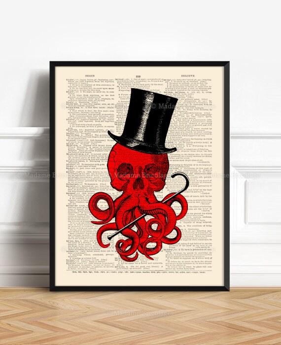 Call Of Cthulhu, Boyfriend Gift Print, Book Lover Poster, HP Lovecraft,  Gothic Wall Hanging, Kraken Art Print, Cool Octopus, Weird Art 475
