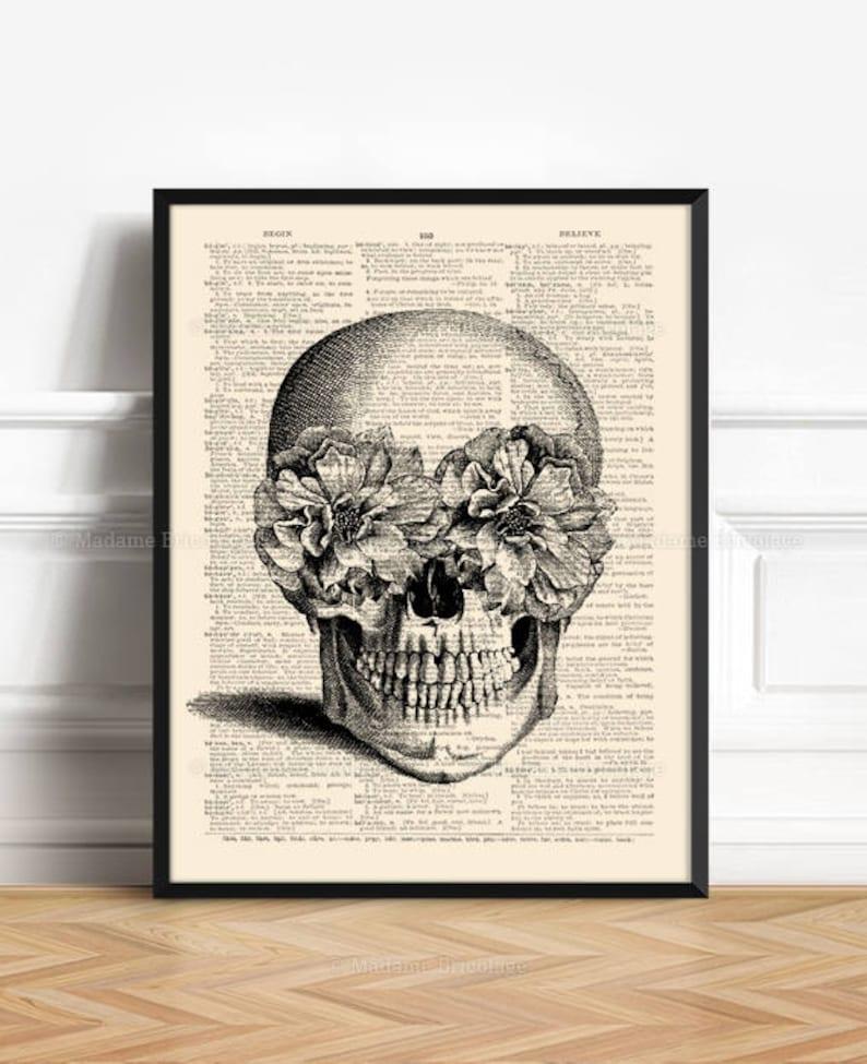 Floral Skull Print Sugar Skull Sister Poster Gift College image 0