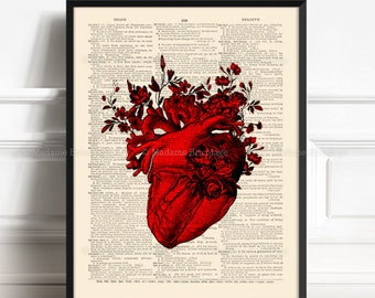 Red Anatomical Heart and Flowers Anatomical Heart Print Flower Print Floral Art Print Heart Illustration Valentine Gift for Her Him 056