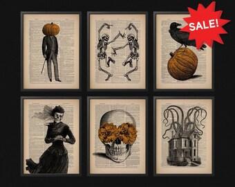 Vintage Halloween Decorations, Set of 6 Prints, Halloween Decor Indoor, Halloween Prints, Spooky Halloween Art, Funny Halloween Print Witch