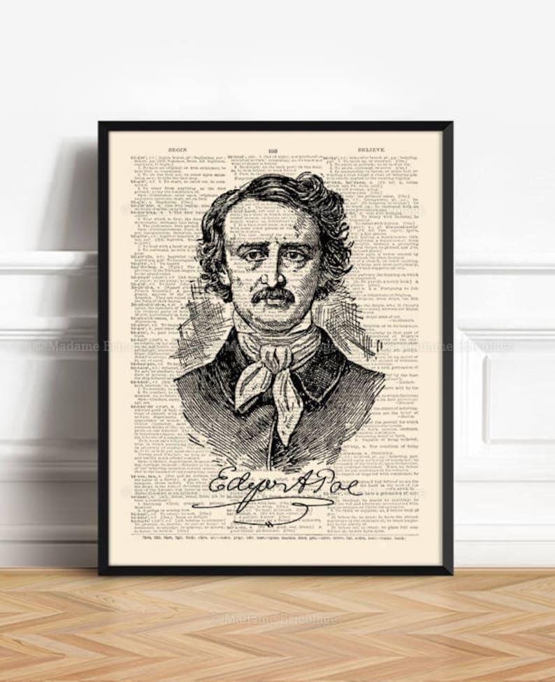 Allan Poe Art Print Husband Wife Gift Bookish Gift Edgar image 0