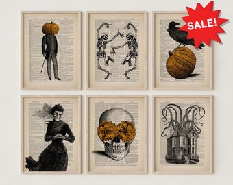 Halloween Gallery Wall Set of 6 Prints, Spooky Art, Fall Decor, Halloween Party, Ghost Print, Witch Poster, Gothic Home Decor Boho Halloween