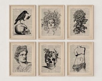 Skull Shelf Decor, Ravenclaw Aesthetic, Indie Room Decor, Literary Loft Art, Literature Poster Writer Gifts Writers Desk Dark Academia Light