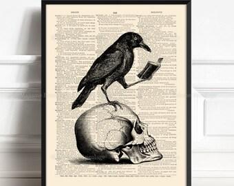 Ravenclaw, Halloween Desk Decor, Gift for Writer, Aesthetic Room Decor, Gothic Home Decor, Aesthetic Print Dark Academia Edgar Allan Poe 542