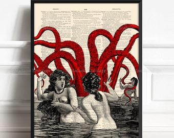 Red Octopus Bathroom Decor Kraken Decor Octopus Bathroom Art Octopus Tentacle Bathroom Art Poster Rustic Bathroom College Unique Gift 510