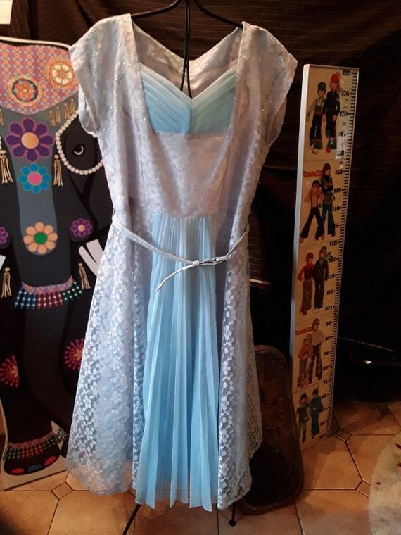 1950s sparkly ladies dress in pastel blue
