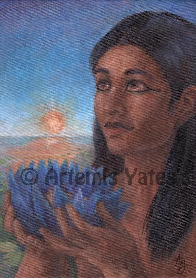 Nefertem Ancient Egyptian Painting God Mythology Lotus Etsy