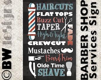 Custom BARBER SHOP Poster Men's Hair Stylist Sign Salon Decor Metrosexual Style Sign Barber Services Sign Shave & Haircut Mustache Beard