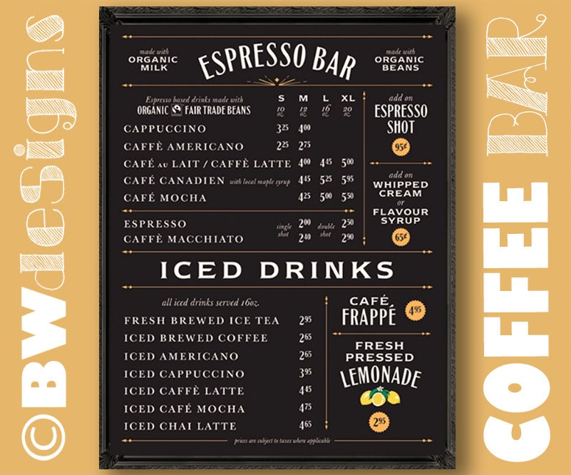 Economical COFFEE SHOP Sign Write in Own Prices Chalkboard Menu  093217f50b9