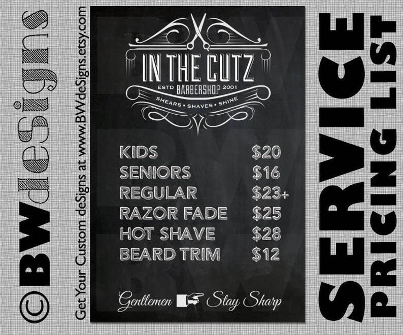Custom Price Service Sign Barber Sign Shave Haircut Price Etsy