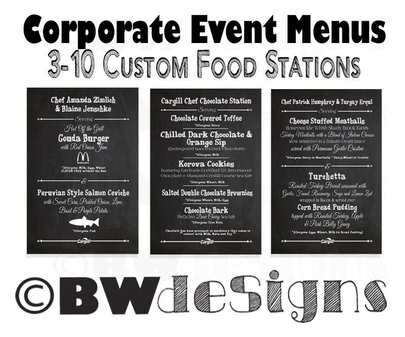 Menu for Company Christmas Party- Food Station Signs- Office Party Menu-  Employee Appreciation Dinner- Business Luncheon- Company Event