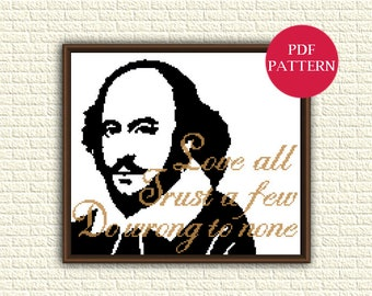 Shakespeare - Cross Stitch Pattern pdf - William Shakespeare - Love all, trust a few, do wrong to none - book quote x stitch chart - KbK-053