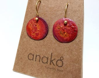 Red Copper Circle Earrings
