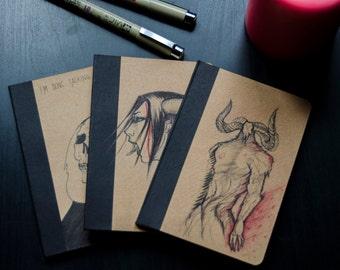 Original Painted Notebook / Sketchbook. Creatures and fantasy.