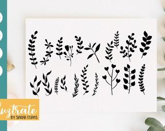 Leaves SVG, Plants SVG files, Leaf cut file, Plant cut file, Leaf set svg file, leaves svg, leaf svg, foliage svg, botanical svg, plant svg