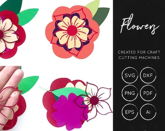 Layered Flower SVG, Flower for cricut, silhouette cameo, flower svg, layered flower cut file, flower cut file, flower dxf, flower shapes svg