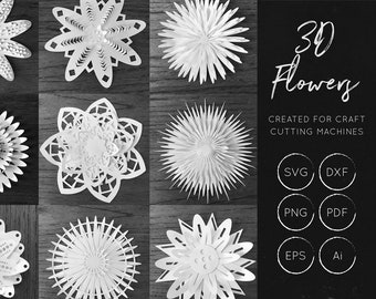 3D Flowers SVG Bundle