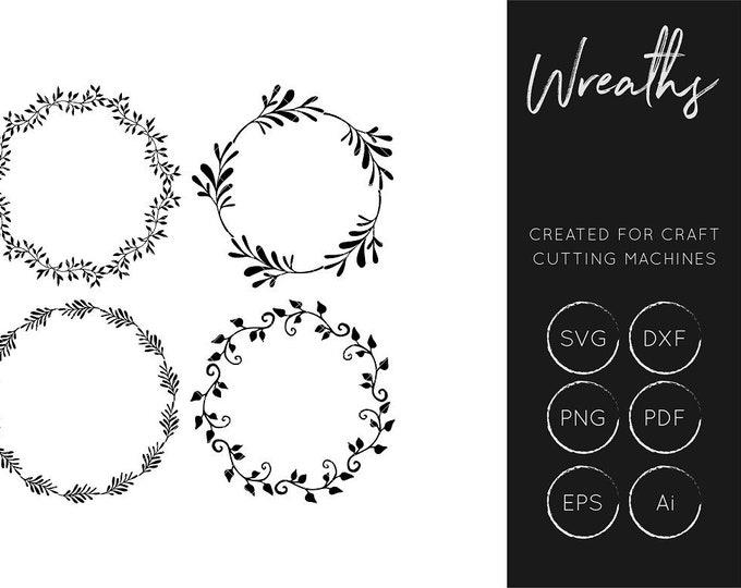 Wreath SVG Cut File, Floral SVG Cut File, Craft Cutting Files, SXF Cut File, Silhouette Cameo, Cricut Explore,  Clipart, Commercial Use