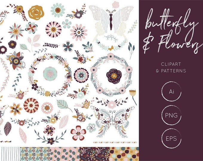 Butterfly Clipart, Floral Clipart Set
