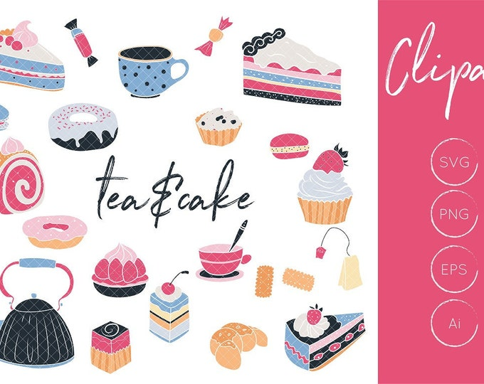 Tea clipart and cake clipart set