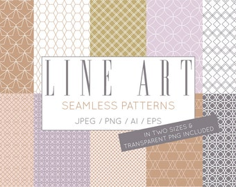 Neutral Geometric Vector Seamless Digital Paper Pack - Commercial Use Scrapbook Pages 12x12 JPG Premade Digital Instant Download Clip Art 46