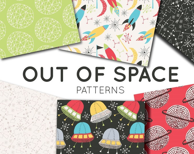 Space Clipart – Seamless Pattern Digital Paper Pack – Instant Download Scrapbook Paper – Commercial Use – PNG, JPG – Rocket, Planets