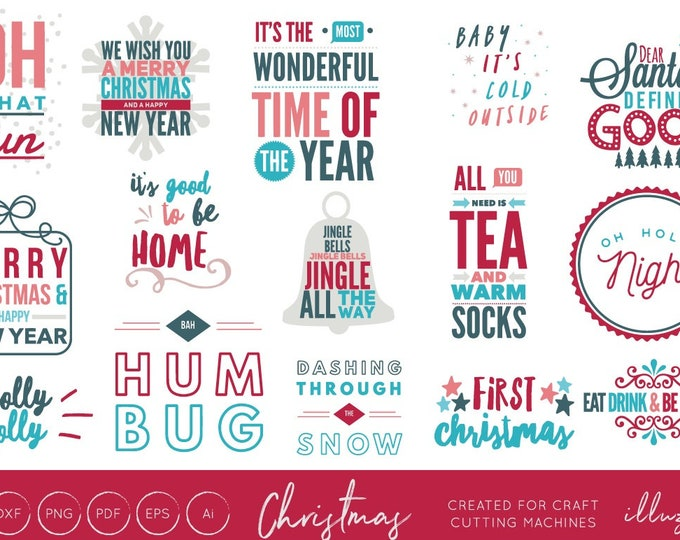 Christmas Quotes Bundle, SVG Bundle, Christmas SVG Cut files, Christmas SVGs, Christmas Song, Lettering, Typography Festive Quotes Holidays,