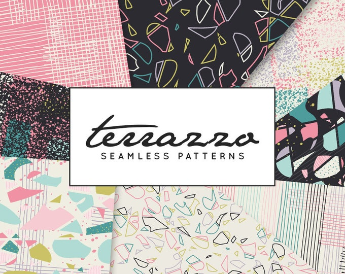 Terrazzo Digital Paper, Geometric Patterns, Seamless Patterns, Background, textures, hand drawn, commercial use, scrapbook, instant download
