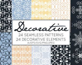 Decorative Patterns, Decorative Clipart, Vector Patterns, VectorClipart, Commercial Use Stylish Elegant Sophisticated Navy Blue Illustration