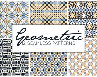 Geometric Patterns, Vector Patterns, Seamless Patterns, Digital Paper, Commercial Use Scrapbook Pages 12x12 Fresh, Detailed Instant Download
