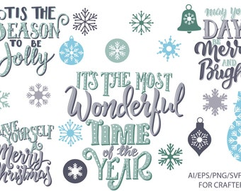 Christmas svg - Christmas Quotes SVG - SVG Bundle - Christmas Cut Files - Snowflakes - Borders - Christmas Quotes Clipart - Commercial Use