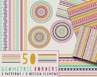 50 Geometric Border Brushes