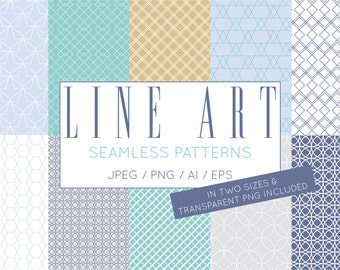 Fresh Geometric Vector Seamless Digital Paper Pack - Commercial Use Scrapbook Pages 12x12 JPG Premade Digital Instant Download Clip Art