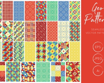Geometric Patterns, Vector Patterns, Seamless Patterns, Digital Paper, Commercial Use, Scrapbook Pages 12x12, Bright, Instant Download