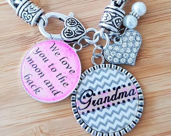 Grandma Bracelet Gifts for Grandma Grandma Gift Grandma Jewelry Gift from Grandkids Personalized Grandma Gifts We Love You to Moon and Back