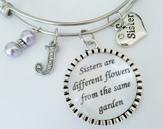 Personalized Sister Bangle / Sister Bracelet / Sister Bangle Bracelet / Sister Gift / Sisters are different flowers from the same garden