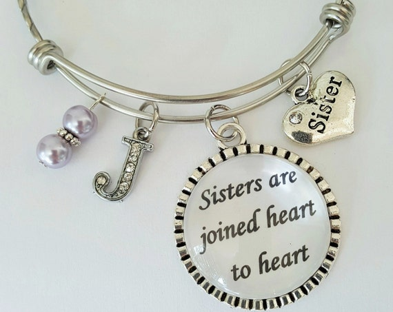 Personalized Sister Bangle Bracelet / Sister Bangle / Sister Bracelet / Sister Gift / Sisters are joined heart to heart