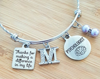 Personalized Psychology Gifts School Psychologist Gift Psychologist Gift Psychologist Bracelet Thanks for Making a Difference