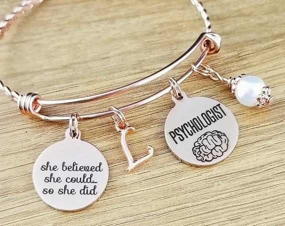 Rose Gold Psychologist Gift Graduation Gift for Psychologist Psychology Gifts Psychology Jewelry Graduation Gift College Graduation Gift