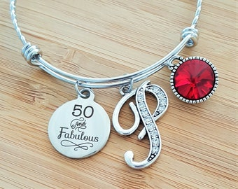50 Birthday Gifts For Women 50th Gift Sister Best Friend Present Initial Jewelry Mom Thinking Of You March Birthstone Bracelet April